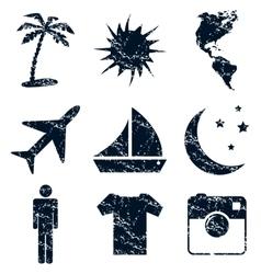 Travel icons set grunge vector