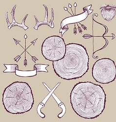 Tree rings set with bowantlers and saw vector image