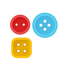 two round and one square clothes button sewing vector image