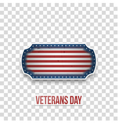 Veterans day greeting badge with text vector