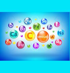Vitamin and mineral complex colorful bubbles vector