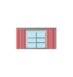 window with curtains icon in flat style vector image