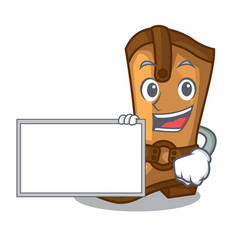 With board cowboy boots in the shape cartoon vector