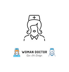 Woman doctor icon medical staff nurse icons vector