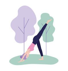 woman practice yoga posture harmony vector image