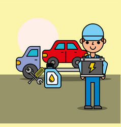 Worker tow truck car service battery oil bottle vector