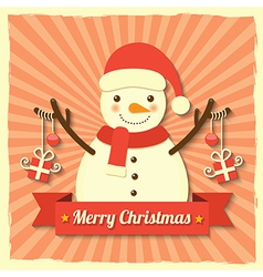 Christmas snowman background vector image vector image