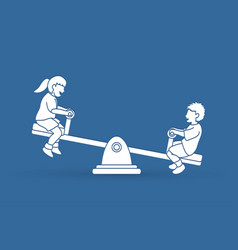little boy and girl are playing seesaw vector image vector image