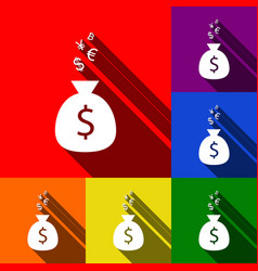money bag sign with currency symbols set vector image