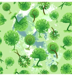 Seamless background of decorative trees vector image vector image