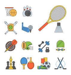 set of sport icons in flat design line vector image
