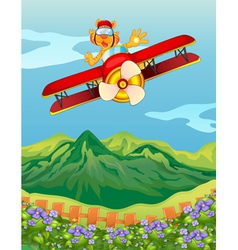 A tiger riding in an airplane vector image vector image