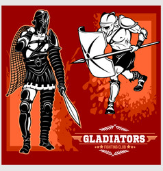 set of gladiators on red background vector image