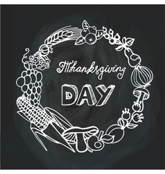 Thanksgiving dayHarvest Linear wreathChalkboard vector image