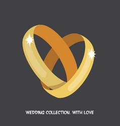 wedding rings heart vector image