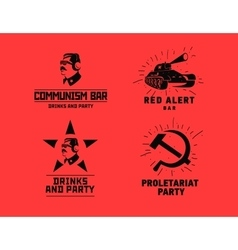Communism style logos restaurant bar design vector image vector image