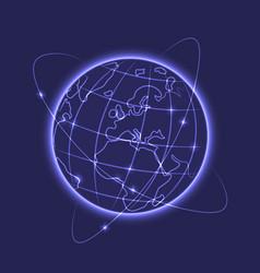glowing earth vector image
