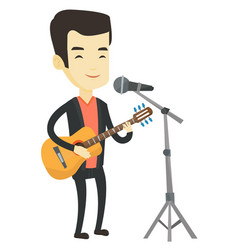 man singing in microphone and playing guitar vector image vector image