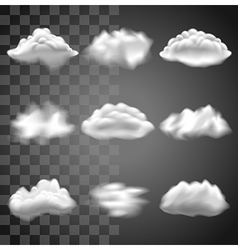 Transparent clouds icons set vector image
