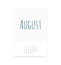 August 2017 Calendar Page vector image vector image