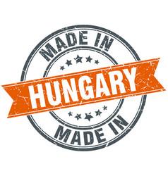 Hungary orange grunge ribbon stamp on white vector