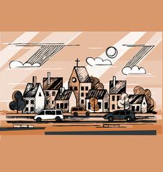 ink urban sketch vector image