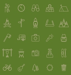 Trekking line color icons on green background vector image vector image