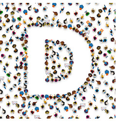 A group of people in of english alphabet letter d vector