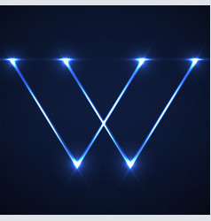 abstract letter w with glowing lines vector image