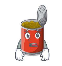 Afraid canned food on the table cartoon vector