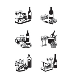 Alcoholic drinks with appetizers vector