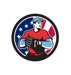 American baseball pitcher usa flag icon vector