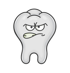Angry funny tooth cartoon character vector