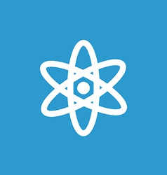 Atom icon white on the blue background vector