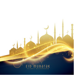 Awesome eid festival greeting design with golden vector