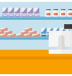 Background of pharmacy with cash box vector image