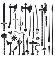 Black monochrome solid design various medieval vector