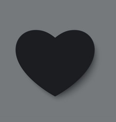 black paper cut love heart for valentines day or vector image