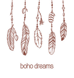 boho pendants with feathers and beads vector image