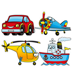 car helicopter airplane and ship vector image