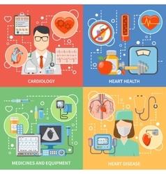Cardiology Flat 2x2 Icons Set vector image