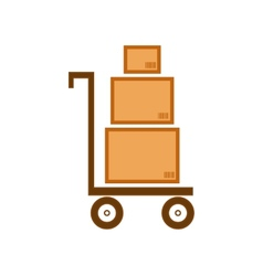 Cart with three boxes as delivery symbol vector