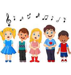 Cartoon group of children singing in the school ch vector