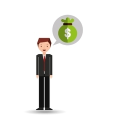 Character businessman with bag money vector