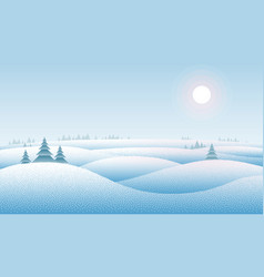 Clean winter landscape with snow drifts and trees vector