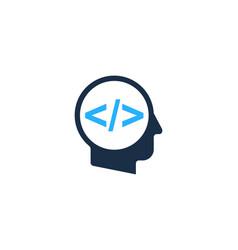 Code human head logo icon design vector