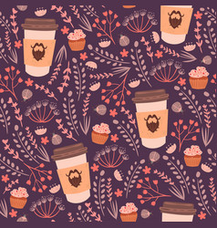 Coffee and flowers seamless pattern vector