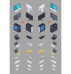 Collection of the isometric electronic hardware vector image