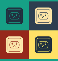 Color electrical outlet in usa icon isolated vector