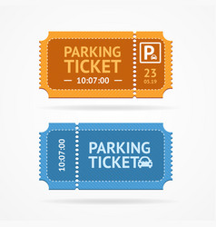 color whole parking ticket icon set vector image